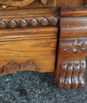 Antique Oak Lion Head Ice Box